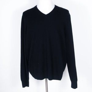 Alan Flusser 100% Cashmere Black V-Neck Sweater